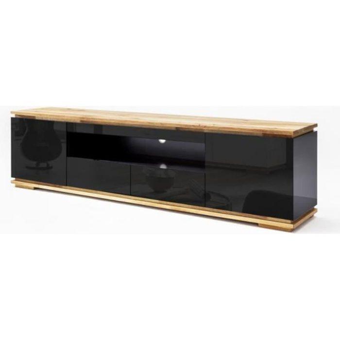 Meuble TV CHARLY noir brillant 2 tiroirs 2 portes 1 niche socle plateau chêne massif noir Bois Inside75