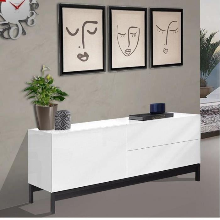 Meuble TV design METIS 110 cm laqué blanc brillant 1 portes 2 tiroirs blanc Inside75