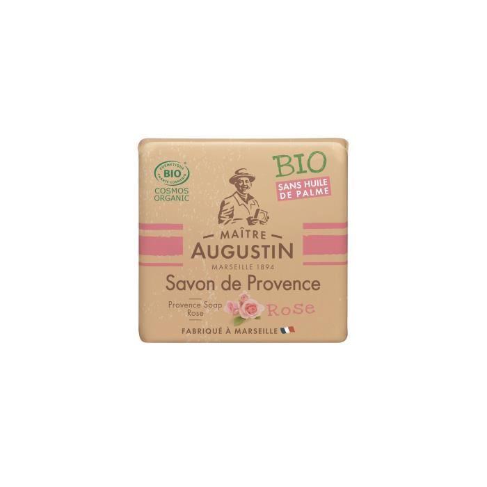 Le savon de Provence Bio Rose MAITRE AUGUSTIN nettoie votre peau tout en douceur.