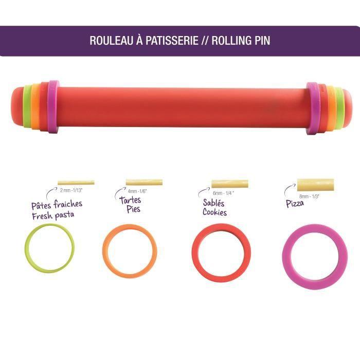 MASTRAD Rouleau à pâtisserie silicone ajustable et antiadhérent F11870 - 41 cm