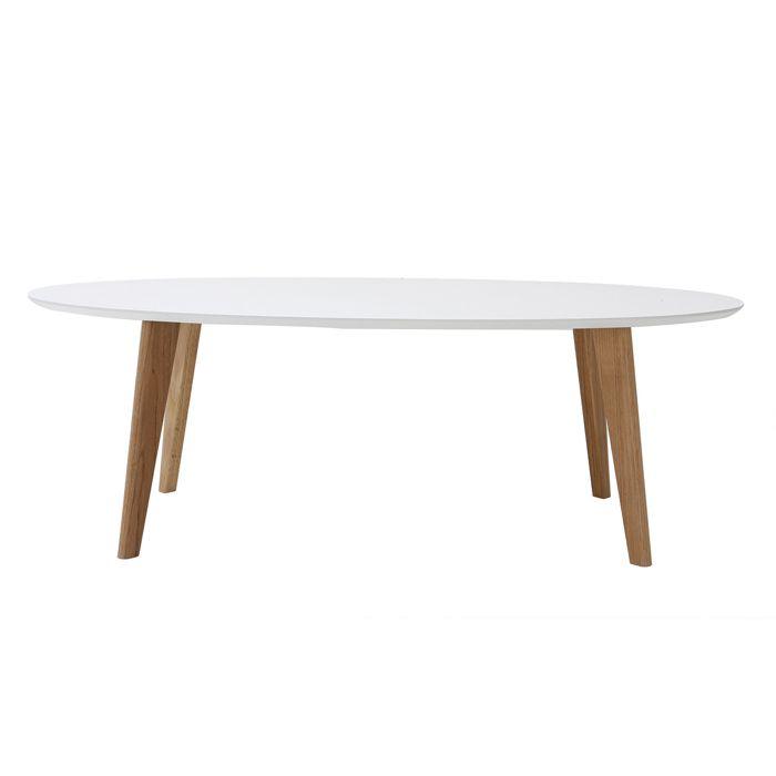 Miliboo - Table basse design ovale 120 cm blanc EKKA
