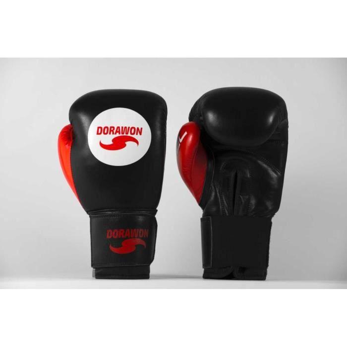 DORAWON, Gants de boxe cuir professionnel avec GEL , rouge et noir