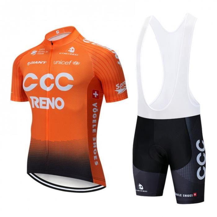 Maillot de Cyclisme Manches Courte Homme Vélo Team Pro CCC Cuissard à Bretelle VTT GEL Ensenble de Vêtement Tour de France -Orange