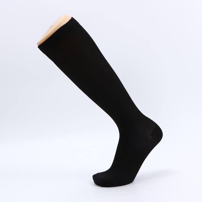 1 paire de chaussettes longues de compression unisexe femmes hommes chaussettes de couleur pure Noir