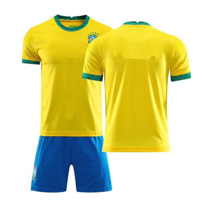Multicolore M2021 nouveau maillot de l'équipe nationale de football du Brésil N°10 Maillot bleu Neymar adulte enfants maison Jaun