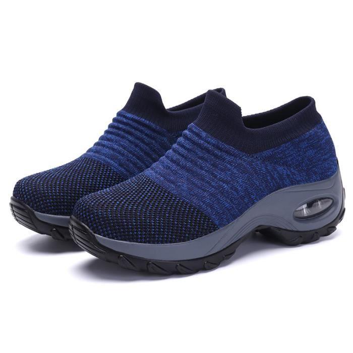 Chaussures de course de sport en maille pour hommes et femmes-bleu