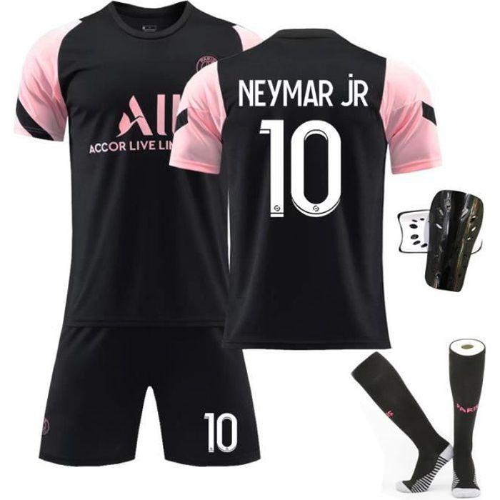 Maillot de Football 2122 Collection de Paris-Neymar 10 Tenue de Training Noir Tenue + Chaussette + Support Protection Junior Enfant