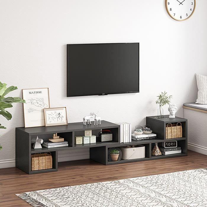 Meuble TV Avec étagères et Placards de Rangement Longueur Réglable 120-180 x 30 x 34 cm Noir