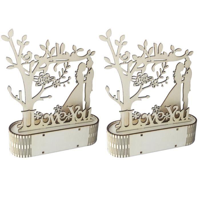 2 pièces ornement de mariage avec lumière LED t'aime bricolage & MRS lampe de pour décoration OBJET DECORATIF