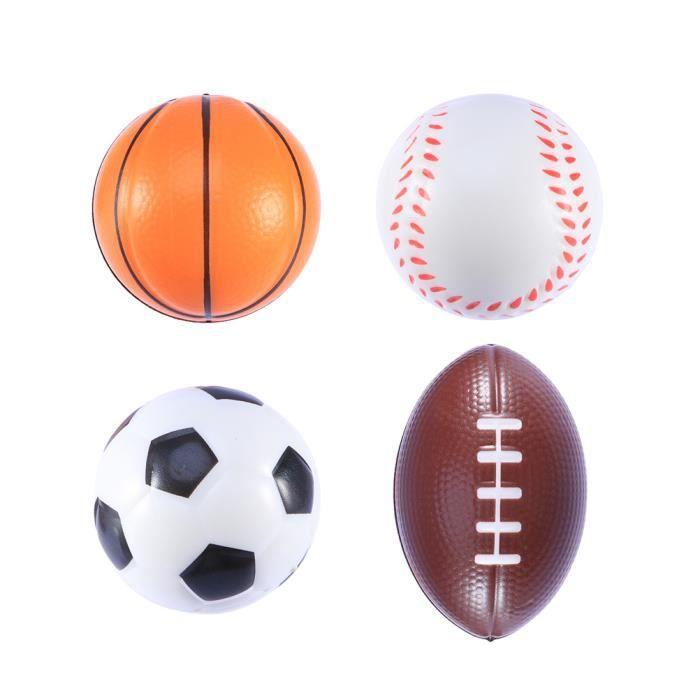 4 pcs Drôle Creative Mini Sports Ballons Balls Faveur Jouets Stress Squeeze pour Party Relief Enfants MINI CAGE - MINI BUT