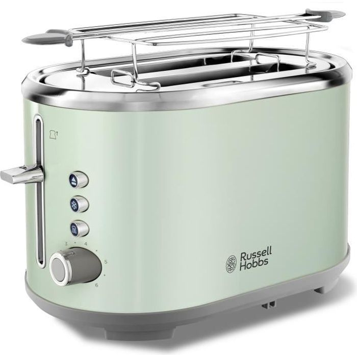 RUSSELL HOBBS 25080-56 Toaster Grille Pain Bubble Fentes XL, Cuisson Réglable - Vert