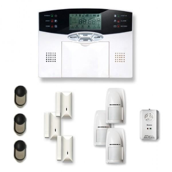 Alarme maison sans fil 3 à 4 pièces MN mouvement + intrusion + détecteur gaz - Compatible Box Internet