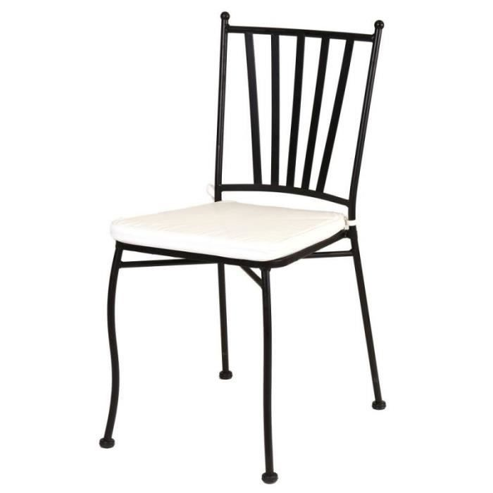 Chaise Fer noir et coussin - EMBUDU - L 41 x l 53 x H 90