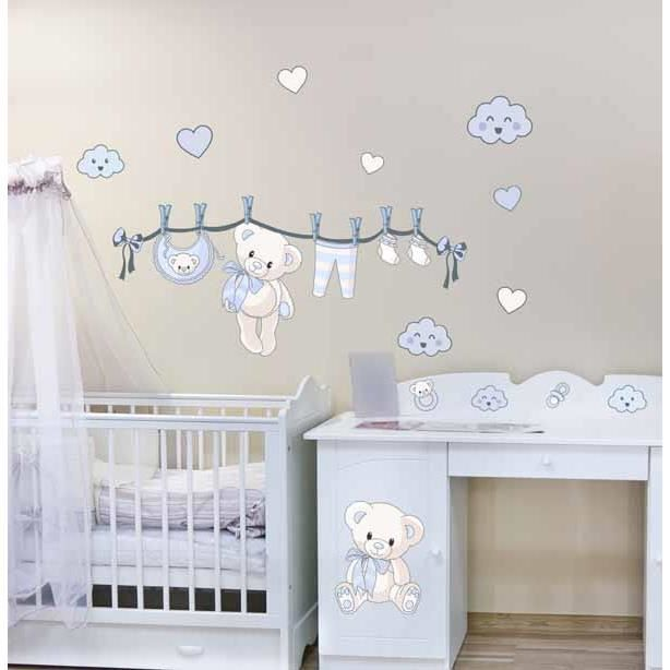 stickers bebe ourson naissance bleu kit 50x90cm achat vente stickers les soldes sur. Black Bedroom Furniture Sets. Home Design Ideas