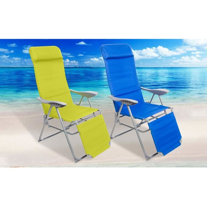 Chaise pliable pour jardin piscine plage sunshine verte for Chaise pour piscine