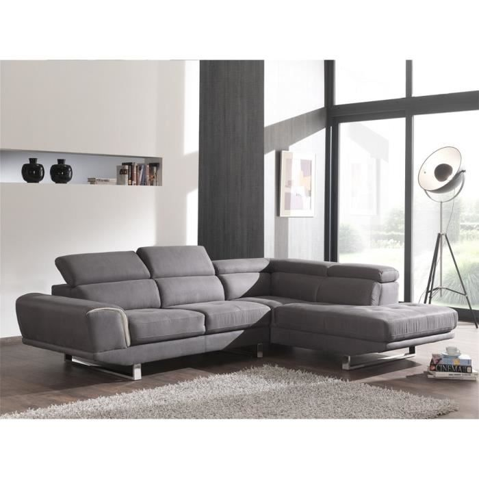 canap d 39 angle droit switsofa piano tissu gris achat vente canap sofa divan tissu. Black Bedroom Furniture Sets. Home Design Ideas