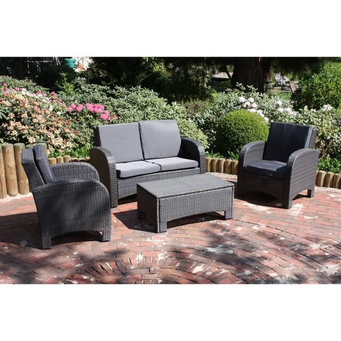 salon de jardin en resine tress e gris napolie achat vente salon de jardin salon de jardin. Black Bedroom Furniture Sets. Home Design Ideas