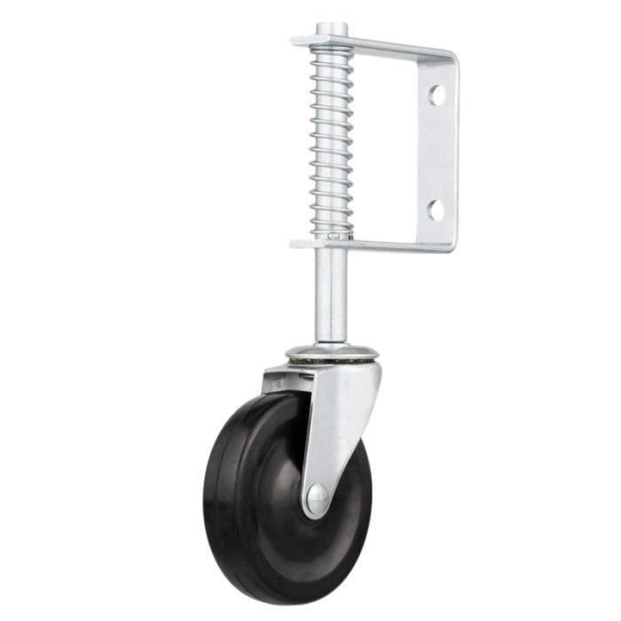 capacit/é de 90 kg roue de 5 pouces Roue de porte roulette de porte /à ressort en caoutchouc dur avec support universel blanc