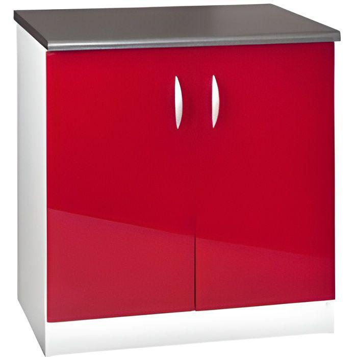 ELEMENTS BAS Meuble cuisine bas 80 cm sous évier OXANE rouge
