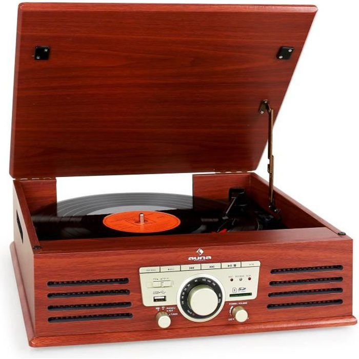 platine vinyle usb sd aux radio fm cerise platine dj prix pas cher cdiscount. Black Bedroom Furniture Sets. Home Design Ideas