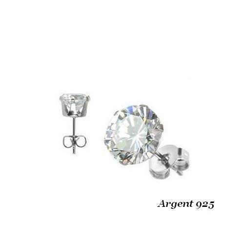 Boucles d/'oreilles Diams NOIR 2 mm 4 Griffes en ARGENT /&  ZIRCONIUM NEUF