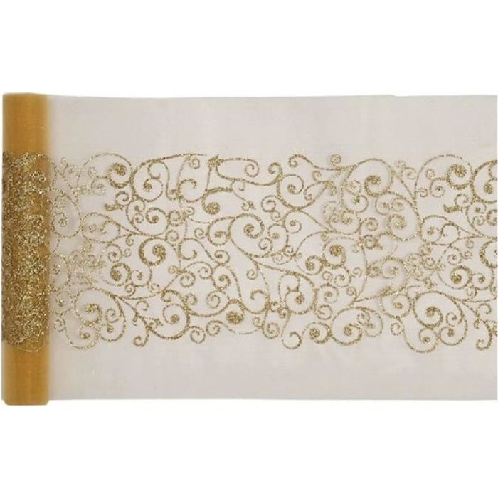 CHEMIN DE TABLE Chemin de table doré motif arabesque - rouleau de