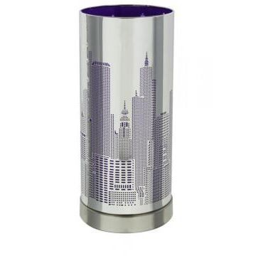 Lampe new york violette cylindrique achat vente lampe new york violette c - Lampe de chevet new york ...