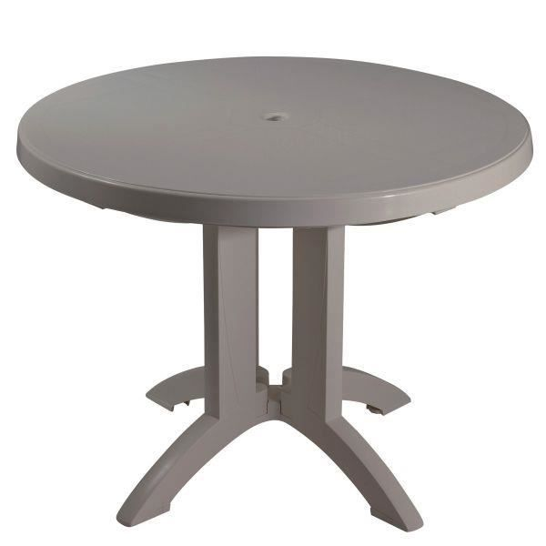 Table Ronde De Jardin Vega Grosfillex Taupe Achat Vente Table De Jardin Table Ronde De