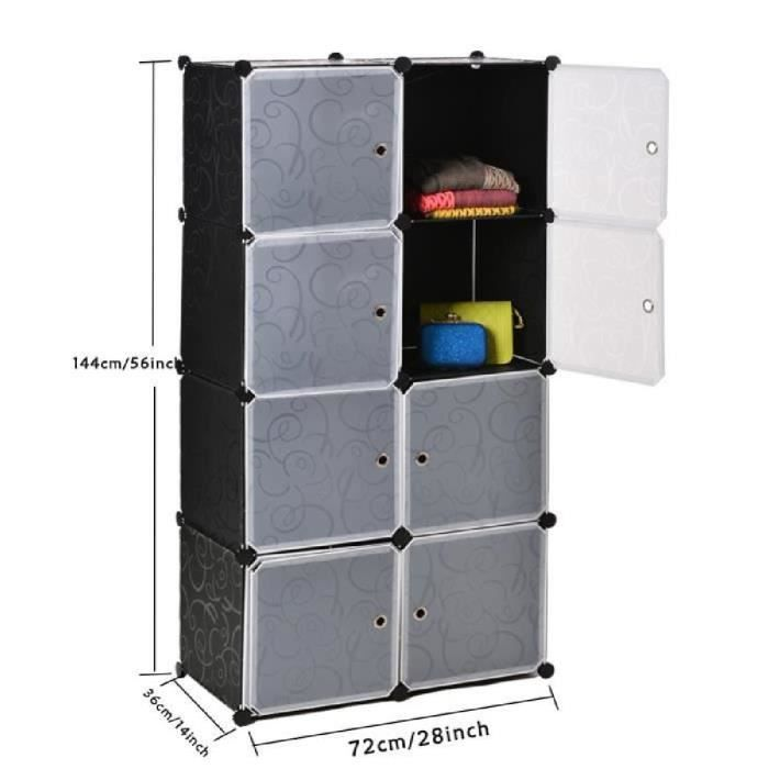 armoire penderie bricolage en plastique 8 stockage en cubes tag re armoire salle de bain garde. Black Bedroom Furniture Sets. Home Design Ideas