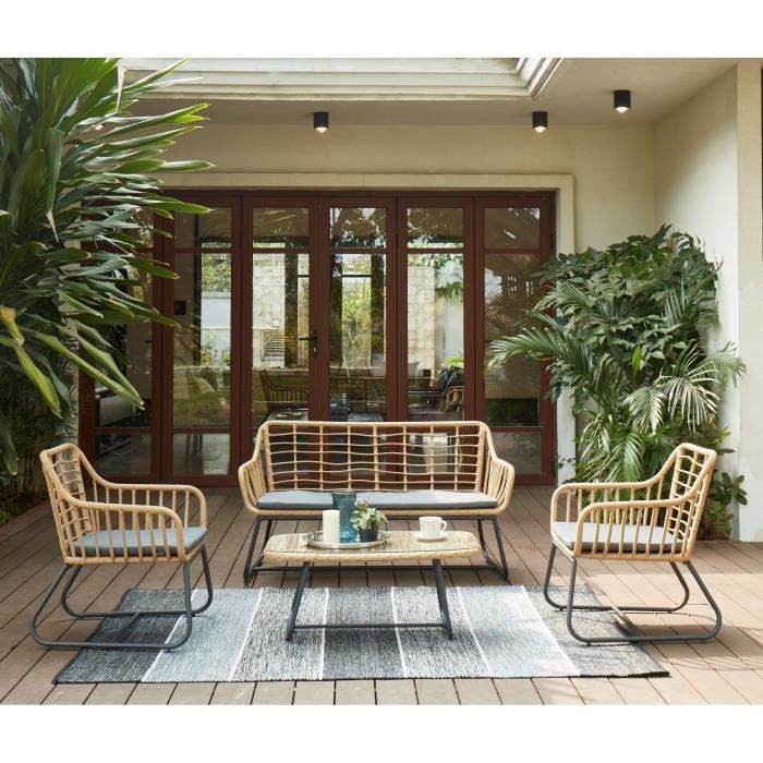 Salon de jardin en résine imitation rotin 4 personnes CAP Coussin gris