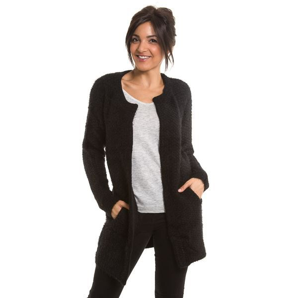 gilet long en laine noir noir achat vente gilet cardigan cdiscount. Black Bedroom Furniture Sets. Home Design Ideas