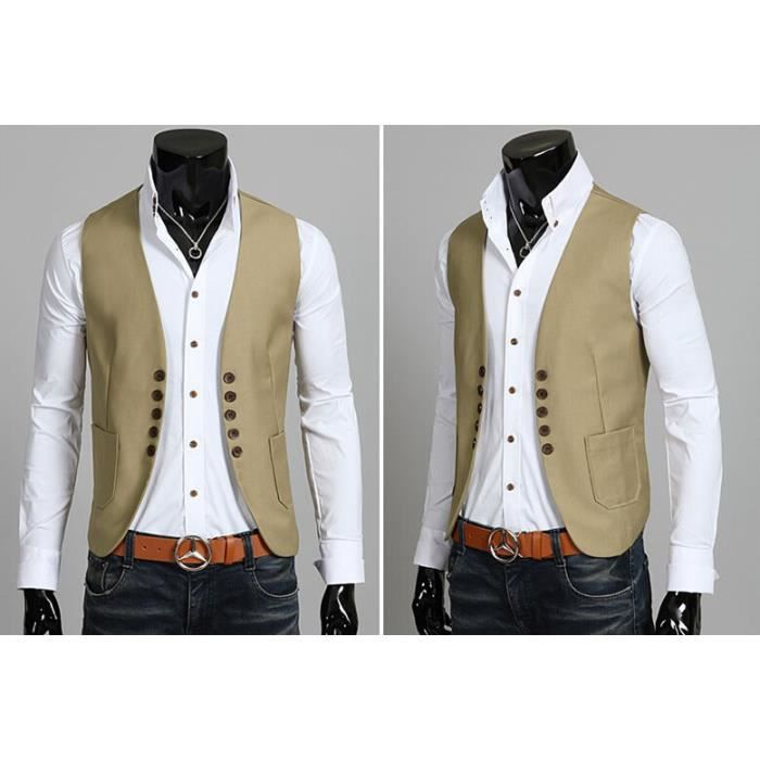 homme gilet veste de costume beige m l xl xxl beige. Black Bedroom Furniture Sets. Home Design Ideas