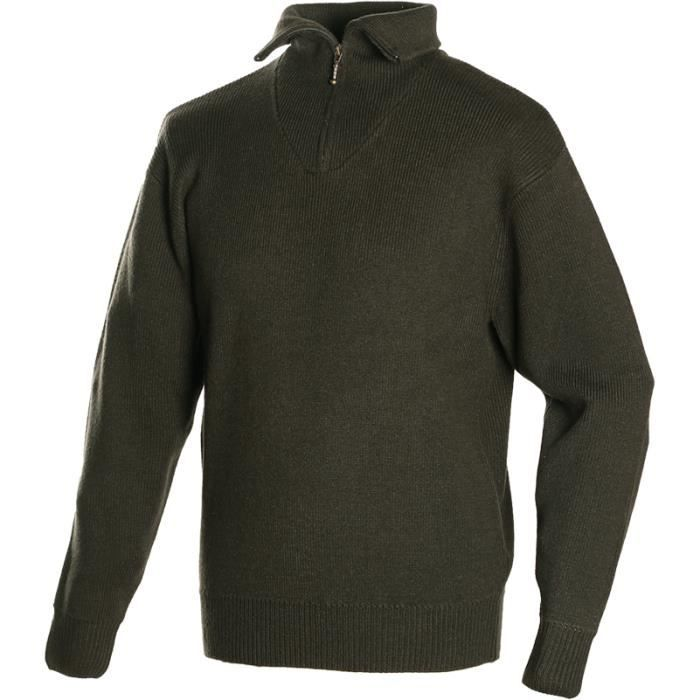 Pull camionneur homme col zippé maille anglaise Camotex Force Vert
