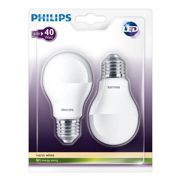 philips lot de 2 ampoules e27 40w led std d polies achat vente ampoule led cdiscount. Black Bedroom Furniture Sets. Home Design Ideas