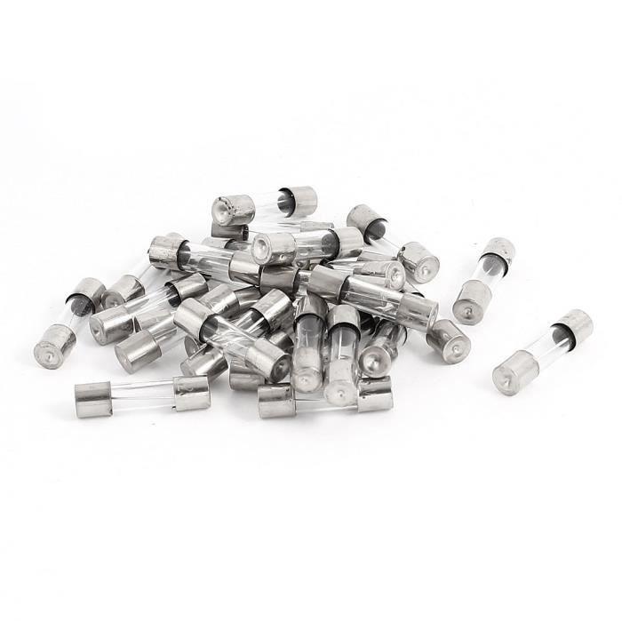 sourcingmap/® 50Pcs 250V 12A F12AL fusion rapide Tube verre fusibles 5 x 20 mm