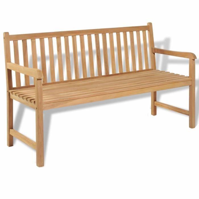 Banc de jardin Picadelly 2 places sans accoudoirs 120 cm de teck bois en bois NEUF