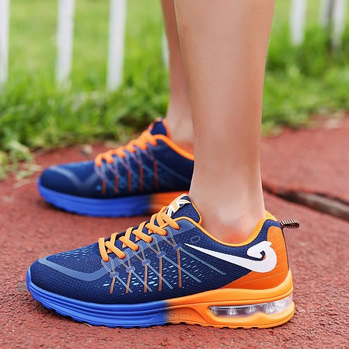 Men's Fashion Running Shock Absorption Mesh Surface Breathable Casual Sports Shoes Orange