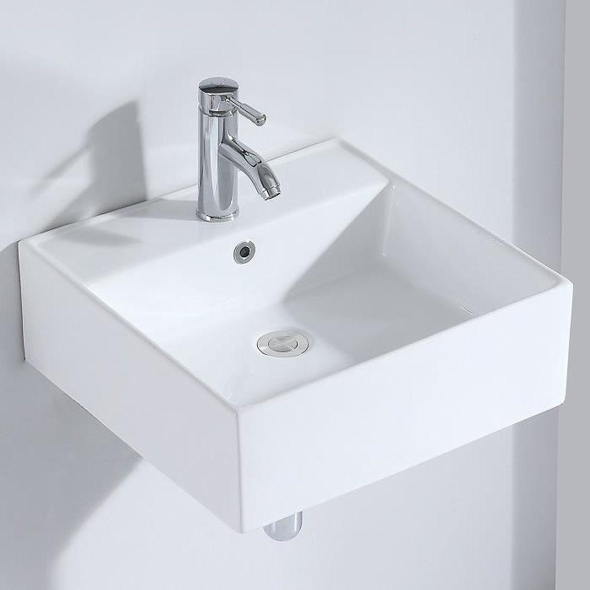 Vasque Salle De Bain A Suspendre eridanus série penn, vasque à poser carrée lavabo suspendu