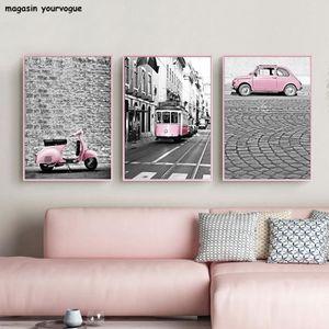 TABLEAU - TOILE Nordic Pink Girl Toile Peinture Noir et Blanc Phot