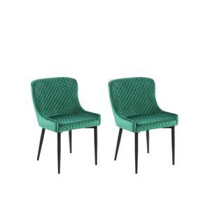 CHAISE Lot de 2 chaises en velours vert SOLANO