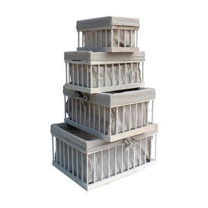 COFFRE - MALLE Rebecca Mobili Set de 4 Boîte de rangement Blanc B