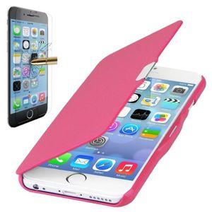 HOUSSE - ÉTUI Coque iPhone 6-6S Rabat magnétique Rose + Verre tr