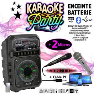 PACK SONO PACK Karaoké ENCEINTE USB MP3 BLUETOOTH FM + 2 MIC