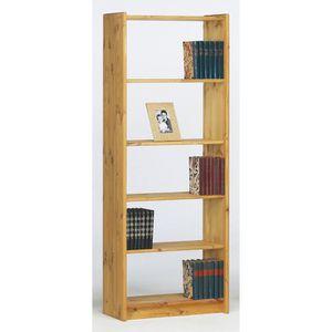 BIBLIOTHÈQUE  Bibliothèque avec 5 étagères en pin massif coloris