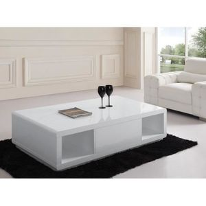 Table Basse Design Blanc Laque Avec 2 Niches Et 1 Tiroir Central