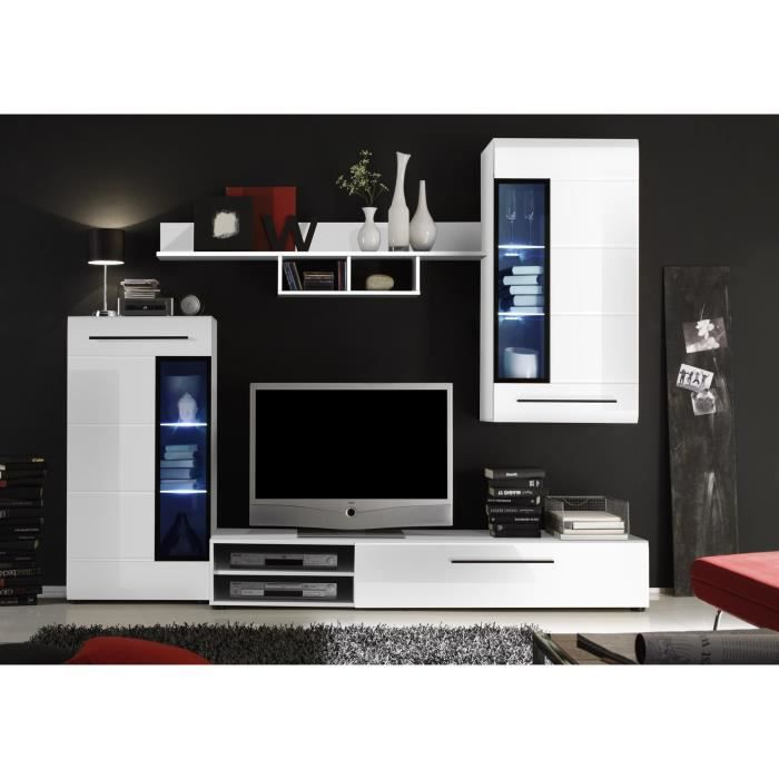 Skin meuble tv mural 235cm avec clairage led blanc achat vente meuble tv skin meuble tv - Meuble tv mural cdiscount ...