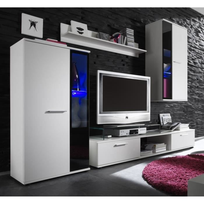 salsa ensemble s jour contemporain blanc mat l 241 cm achat vente meuble tv salsa meuble. Black Bedroom Furniture Sets. Home Design Ideas