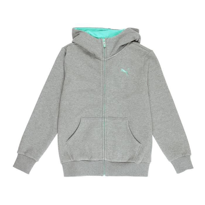 PUMA Veste Sweat Zippé FD Hooded - Enfant Mixte - Gris