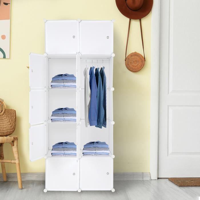 Armoire de Chambre Armoire à rangement,DIY 10 Cubes 5 étages,Blanc