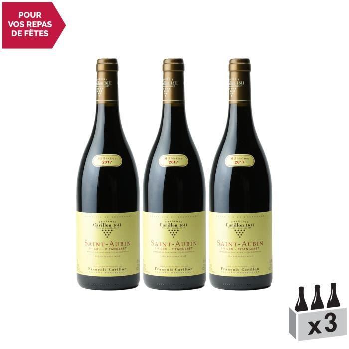 Saint-Aubin 1er Cru Pitangeret Blanc 2017 - Lot de 3x75cl - Domaine François Carillon - Vin AOC Blanc de Bourgogne - Cépage